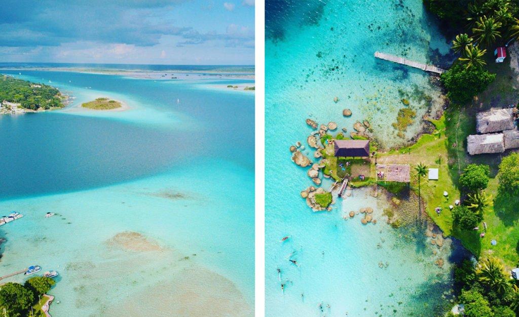 Widok z drona na lagune w Bacalar w Meksyku